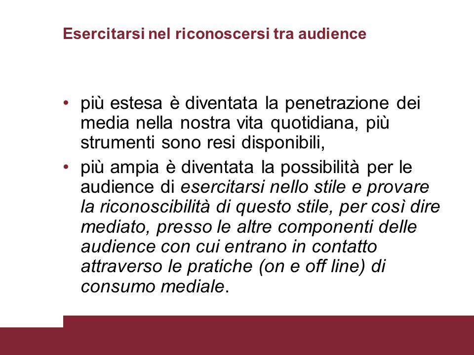 Esercitarsi nel riconoscersi tra audience più estesa è diventata la penetrazione dei media nella nostra vita quotidiana, più strumenti sono resi dispo