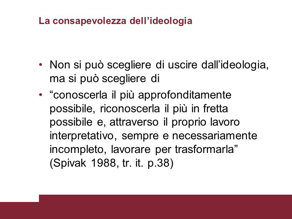 La consapevolezza dellideologia Non si può scegliere di uscire dallideologia, ma si può scegliere di conoscerla il più approfonditamente possibile, ri