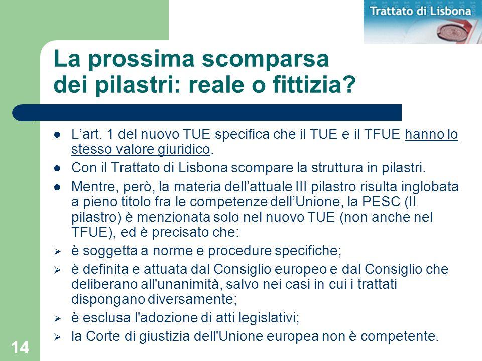 14 La prossima scomparsa dei pilastri: reale o fittizia? Lart. 1 del nuovo TUE specifica che il TUE e il TFUE hanno lo stesso valore giuridico. Con il