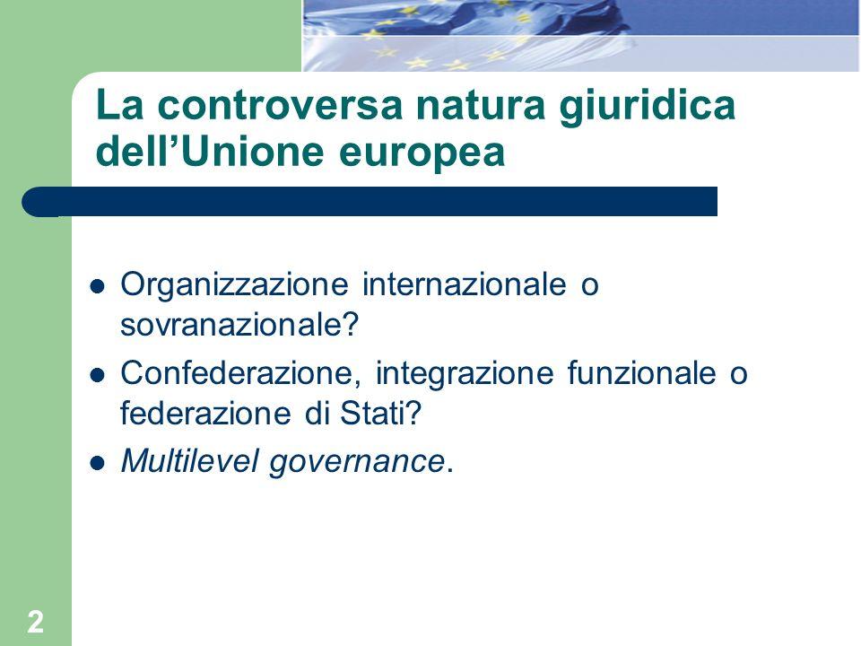 2 La controversa natura giuridica dellUnione europea Organizzazione internazionale o sovranazionale? Confederazione, integrazione funzionale o federaz