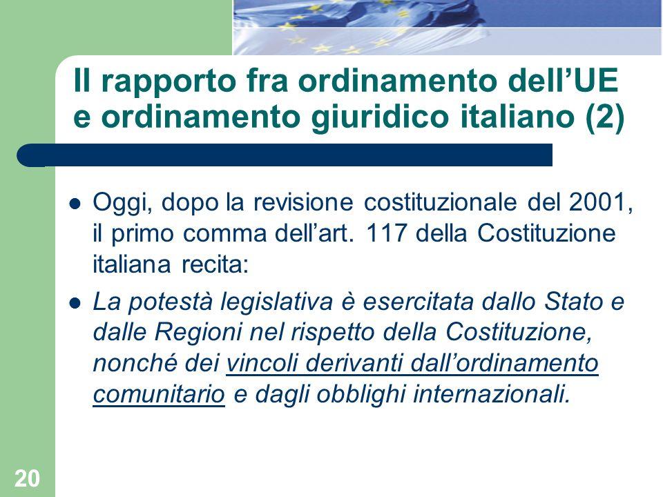 20 Il rapporto fra ordinamento dellUE e ordinamento giuridico italiano (2) Oggi, dopo la revisione costituzionale del 2001, il primo comma dellart. 11