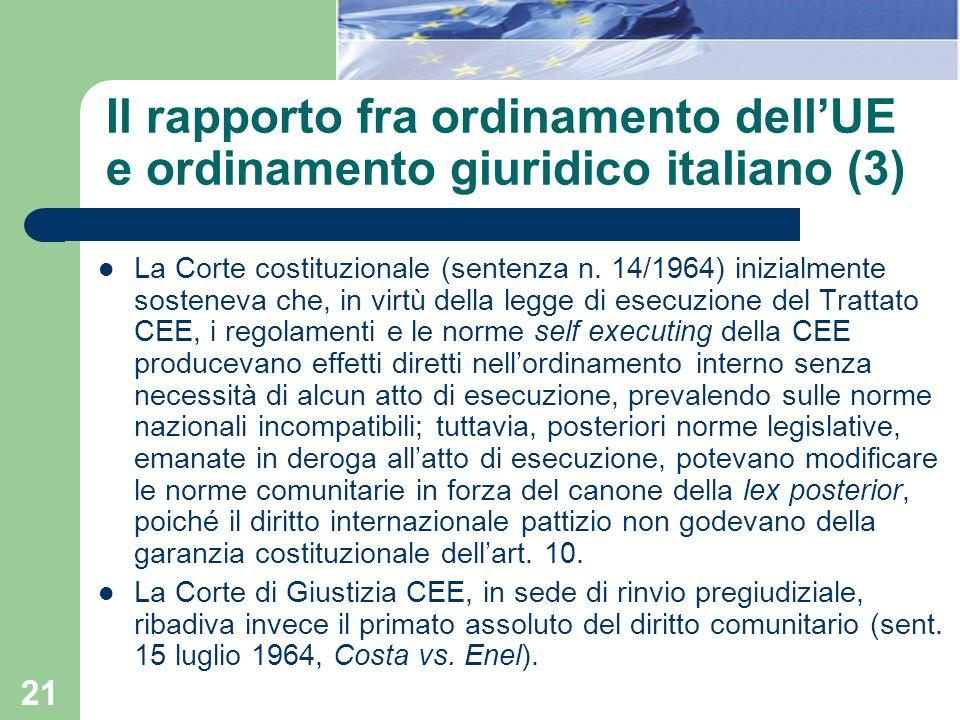 21 Il rapporto fra ordinamento dellUE e ordinamento giuridico italiano (3) La Corte costituzionale (sentenza n. 14/1964) inizialmente sosteneva che, i