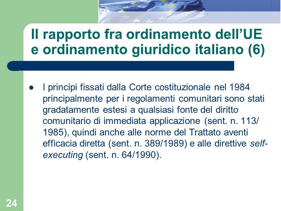 24 Il rapporto fra ordinamento dellUE e ordinamento giuridico italiano (6) I principi fissati dalla Corte costituzionale nel 1984 principalmente per i