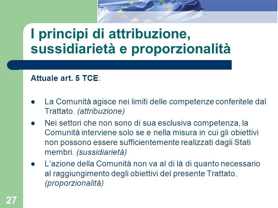 27 I principi di attribuzione, sussidiarietà e proporzionalità Attuale art. 5 TCE: La Comunità agisce nei limiti delle competenze conferitele dal Trat