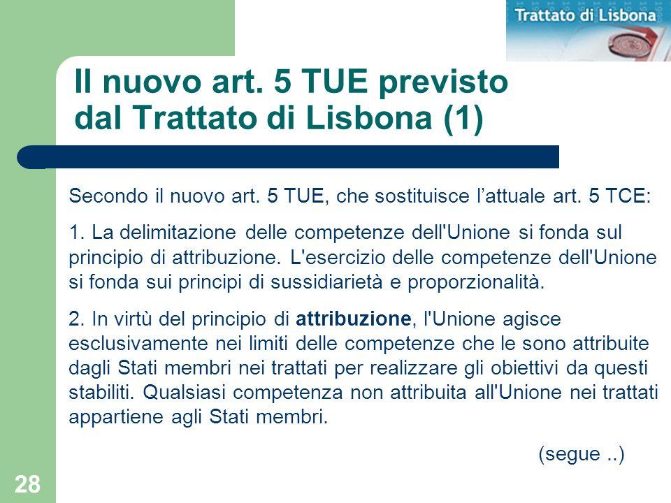 28 Il nuovo art. 5 TUE previsto dal Trattato di Lisbona (1) Secondo il nuovo art. 5 TUE, che sostituisce lattuale art. 5 TCE: 1. La delimitazione dell
