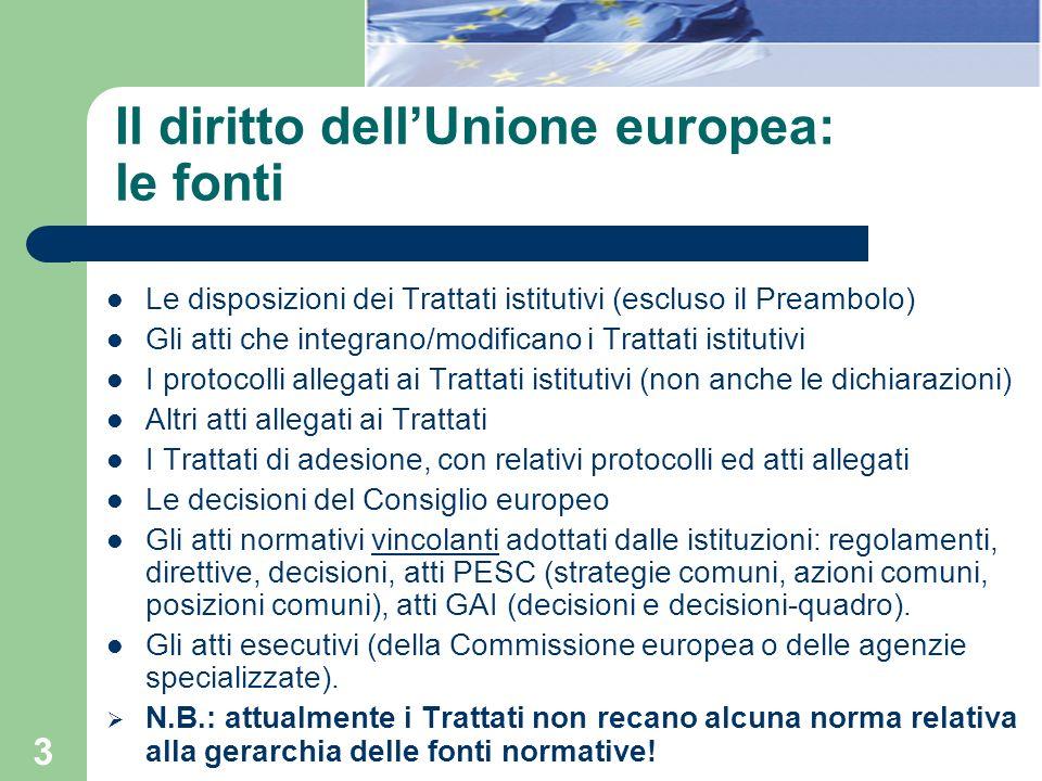 3 Il diritto dellUnione europea: le fonti Le disposizioni dei Trattati istitutivi (escluso il Preambolo) Gli atti che integrano/modificano i Trattati