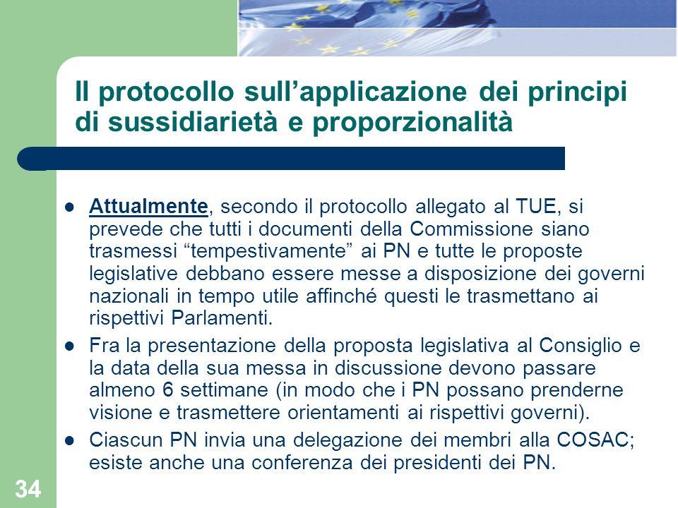34 Il protocollo sullapplicazione dei principi di sussidiarietà e proporzionalità Attualmente, secondo il protocollo allegato al TUE, si prevede che t
