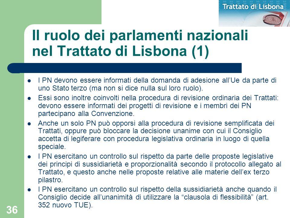 36 Il ruolo dei parlamenti nazionali nel Trattato di Lisbona (1) I PN devono essere informati della domanda di adesione allUe da parte di uno Stato te