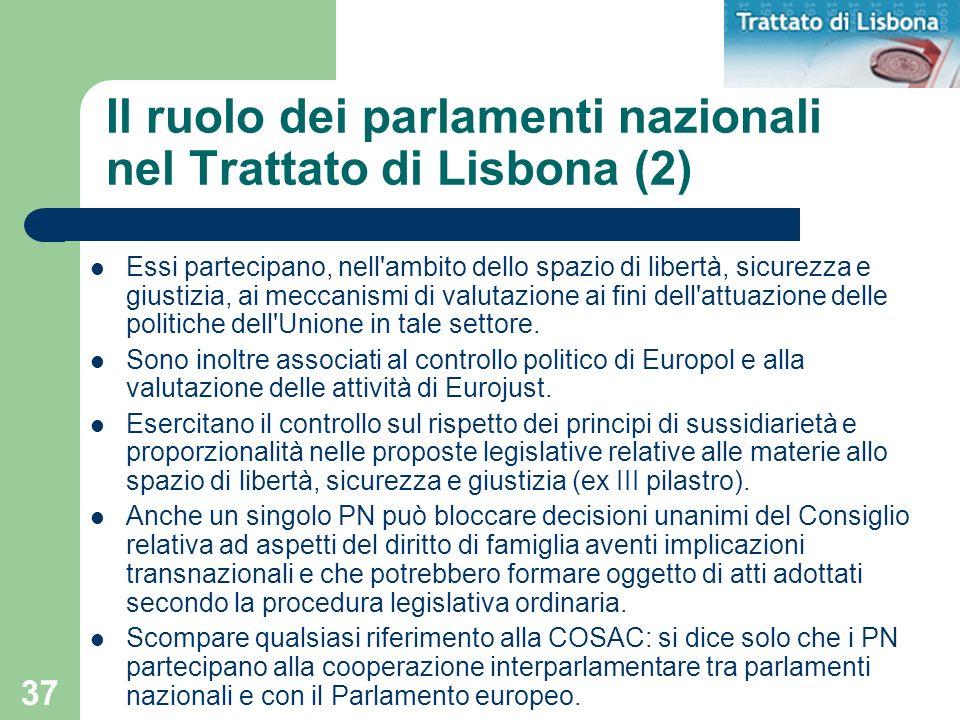 37 Il ruolo dei parlamenti nazionali nel Trattato di Lisbona (2) Essi partecipano, nell'ambito dello spazio di libertà, sicurezza e giustizia, ai mecc