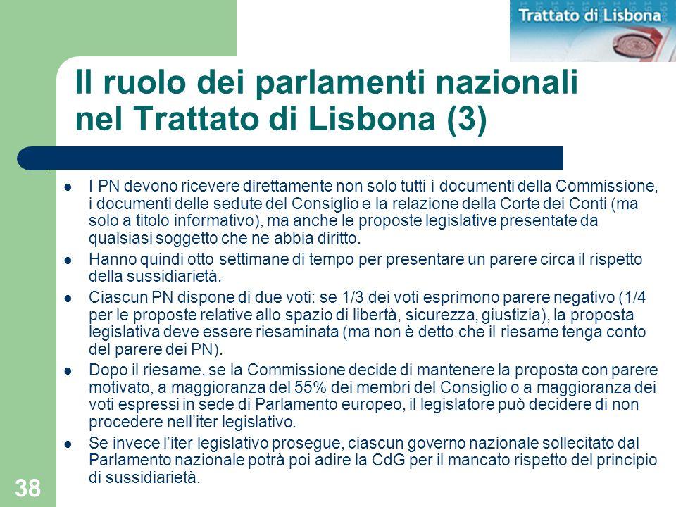 38 Il ruolo dei parlamenti nazionali nel Trattato di Lisbona (3) I PN devono ricevere direttamente non solo tutti i documenti della Commissione, i doc