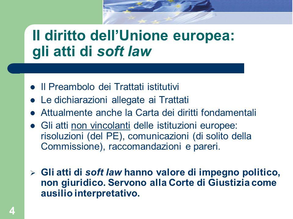 4 Il diritto dellUnione europea: gli atti di soft law Il Preambolo dei Trattati istitutivi Le dichiarazioni allegate ai Trattati Attualmente anche la