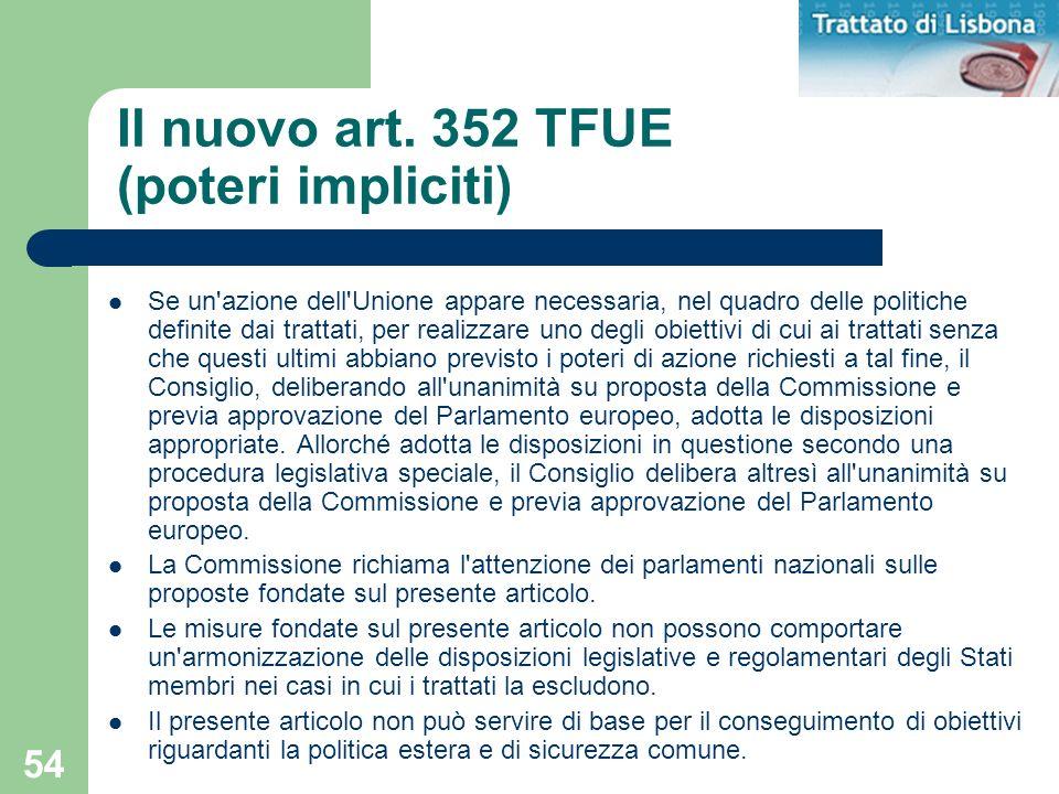 54 Il nuovo art. 352 TFUE (poteri impliciti) Se un'azione dell'Unione appare necessaria, nel quadro delle politiche definite dai trattati, per realizz