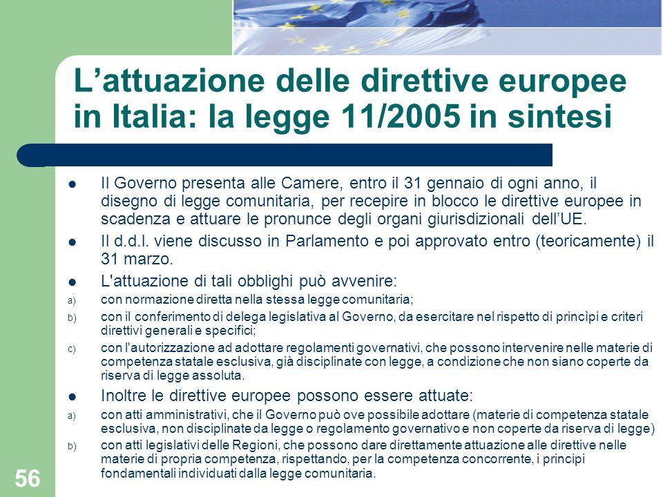 56 Lattuazione delle direttive europee in Italia: la legge 11/2005 in sintesi Il Governo presenta alle Camere, entro il 31 gennaio di ogni anno, il di