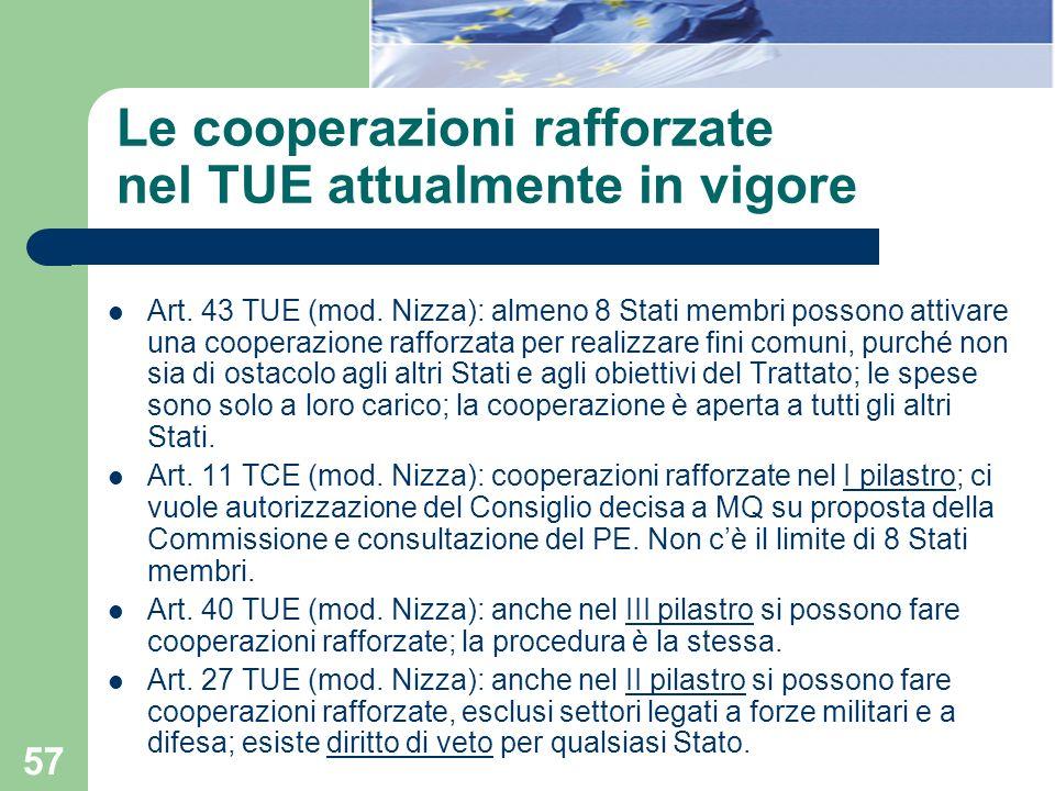 57 Le cooperazioni rafforzate nel TUE attualmente in vigore Art. 43 TUE (mod. Nizza): almeno 8 Stati membri possono attivare una cooperazione rafforza