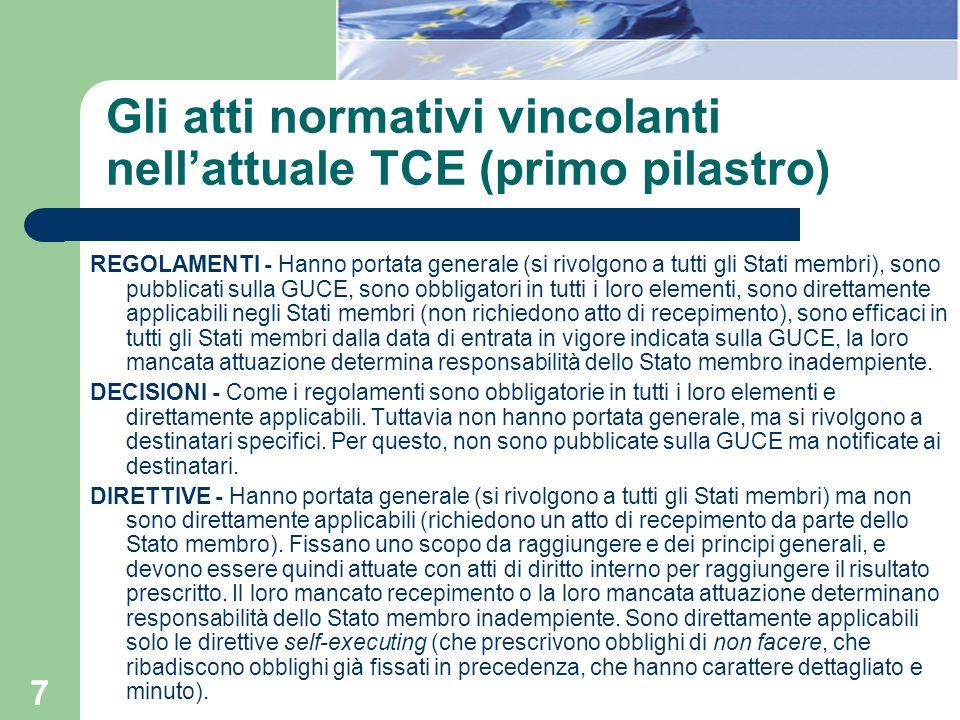 7 Gli atti normativi vincolanti nellattuale TCE (primo pilastro) REGOLAMENTI - Hanno portata generale (si rivolgono a tutti gli Stati membri), sono pu