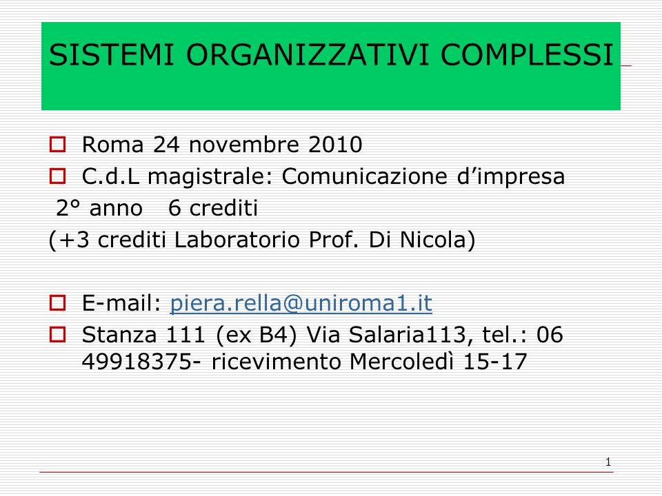 1 SISTEMI ORGANIZZATIVI COMPLESSI Roma 24 novembre 2010 C.d.L magistrale: Comunicazione dimpresa 2° anno 6 crediti (+3 crediti Laboratorio Prof.