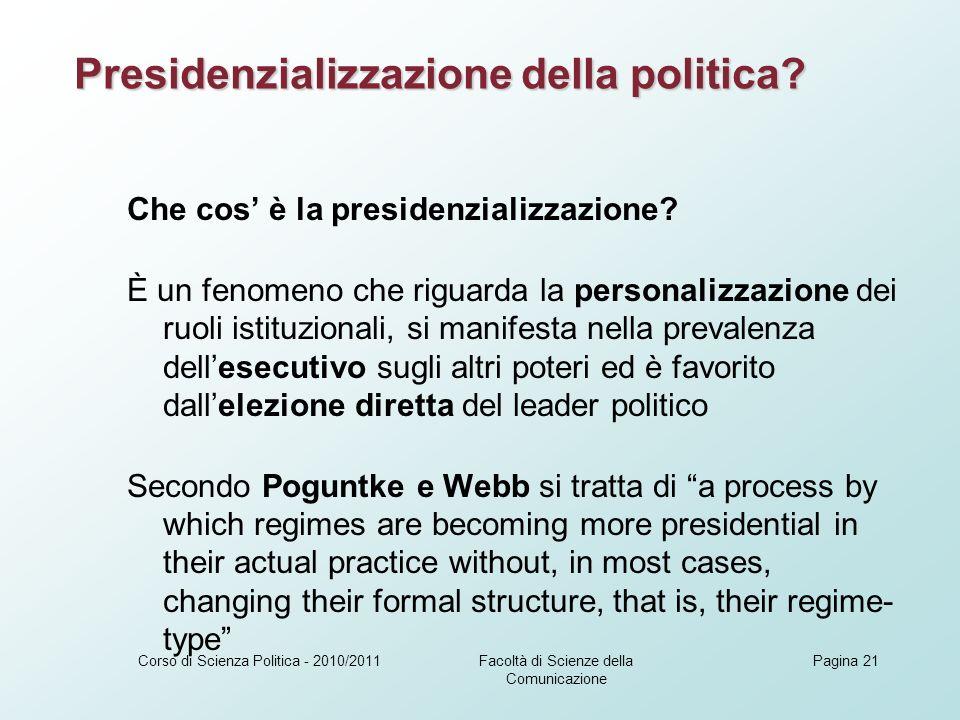 Che cos è la presidenzializzazione.
