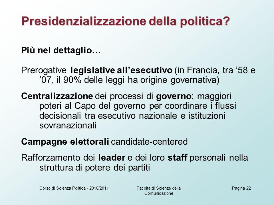 Facoltà di Scienze della Comunicazione Corso di Scienza Politica - 2010/2011Pagina 22 Presidenzializzazione della politica.