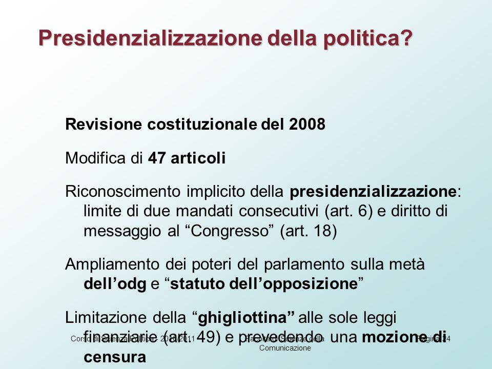 Revisione costituzionale del 2008 Modifica di 47 articoli Riconoscimento implicito della presidenzializzazione: limite di due mandati consecutivi (art.