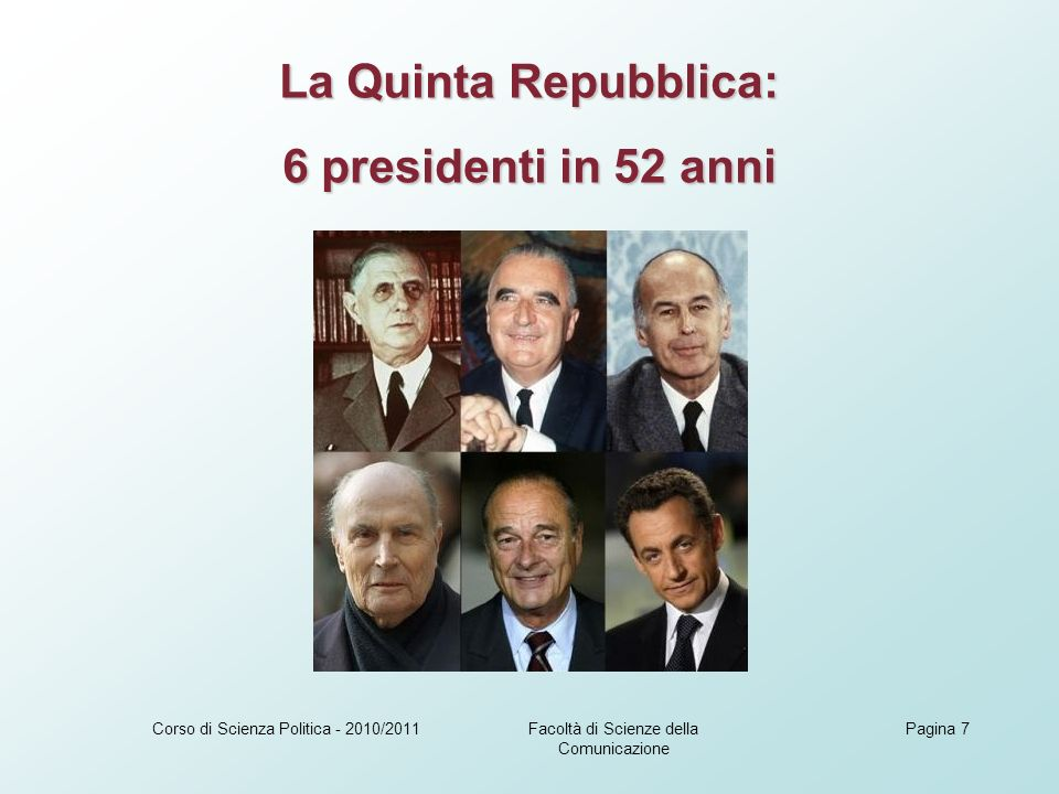 Facoltà di Scienze della Comunicazione Corso di Scienza Politica - 2010/2011Pagina 7 La Quinta Repubblica: 6 presidenti in 52 anni