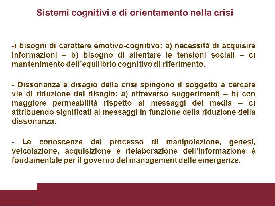 -i bisogni di carattere emotivo-cognitivo: a) necessità di acquisire informazioni – b) bisogno di allentare le tensioni sociali – c) mantenimento dell