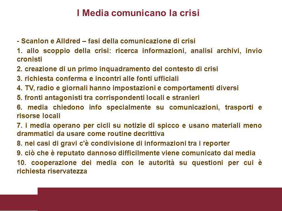 - Scanlon e Alldred – fasi della comunicazione di crisi 1. allo scoppio della crisi: ricerca informazioni, analisi archivi, invio cronisti 2. creazion