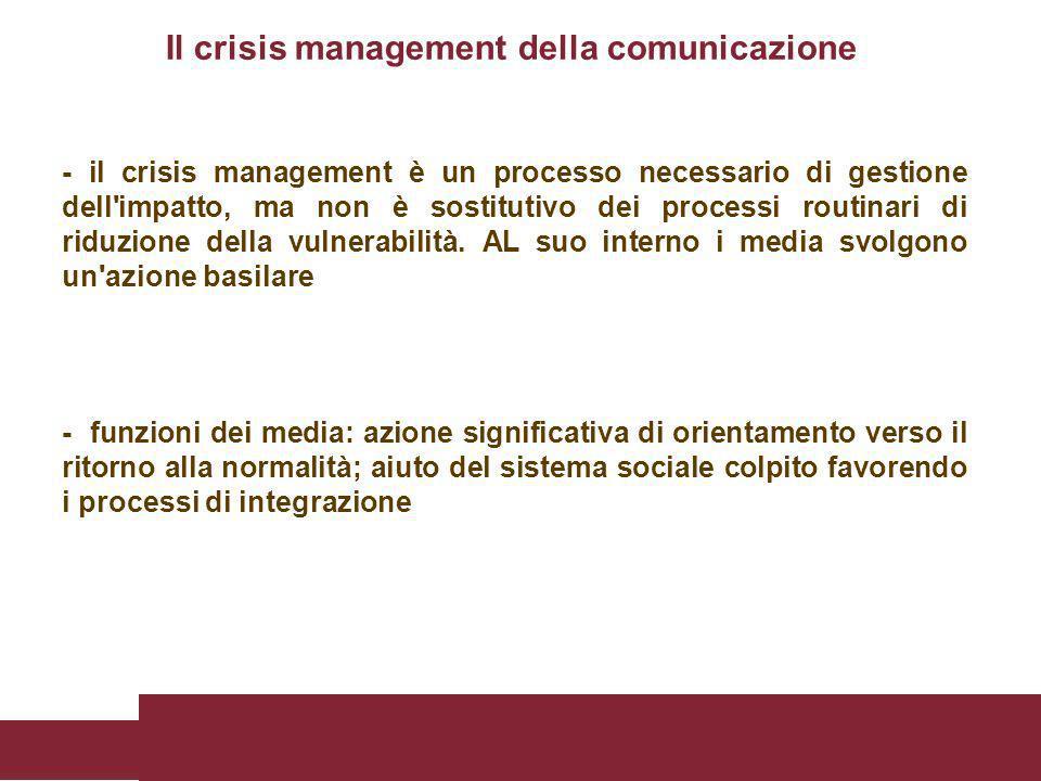 - il crisis management è un processo necessario di gestione dell'impatto, ma non è sostitutivo dei processi routinari di riduzione della vulnerabilità
