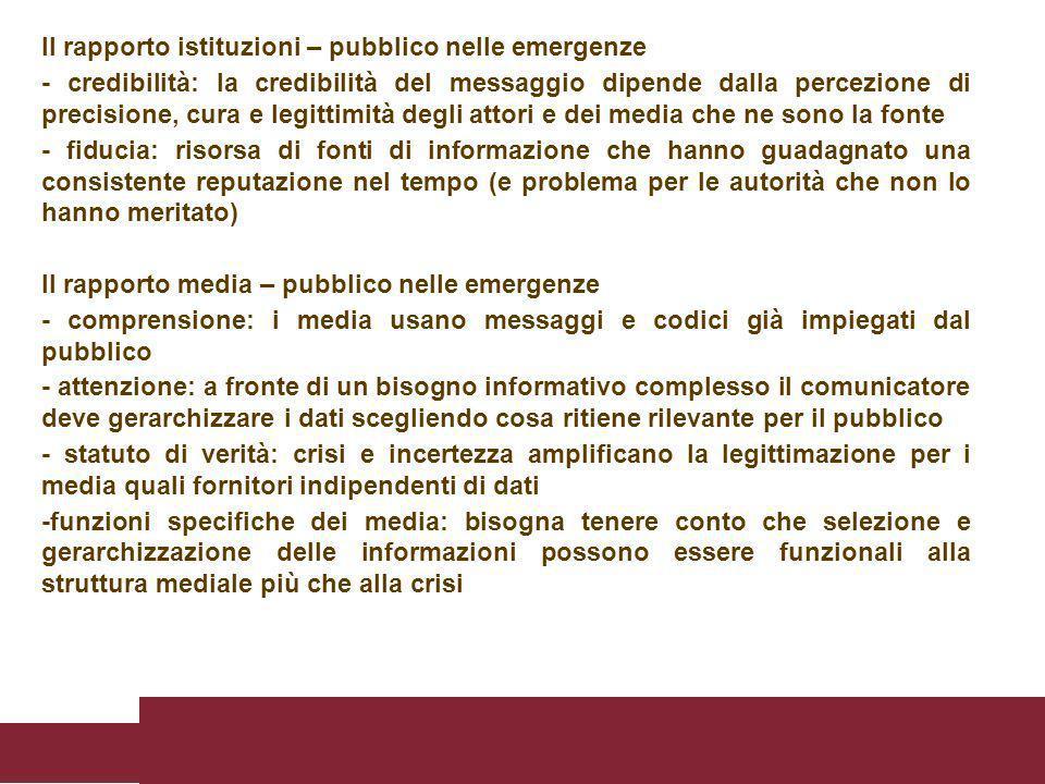 Il rapporto istituzioni – pubblico nelle emergenze - credibilità: la credibilità del messaggio dipende dalla percezione di precisione, cura e legittim