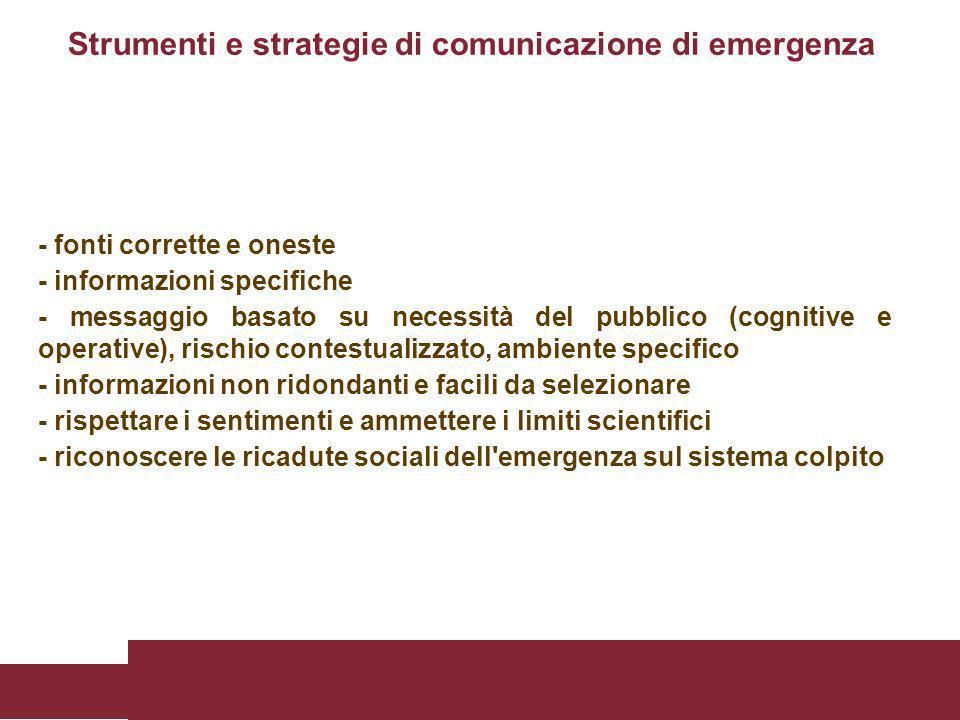 - fonti corrette e oneste - informazioni specifiche - messaggio basato su necessità del pubblico (cognitive e operative), rischio contestualizzato, am