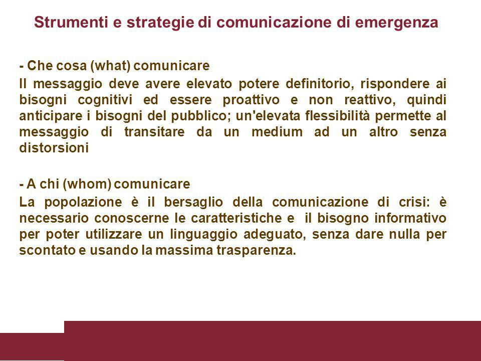 - Che cosa (what) comunicare Il messaggio deve avere elevato potere definitorio, rispondere ai bisogni cognitivi ed essere proattivo e non reattivo, q