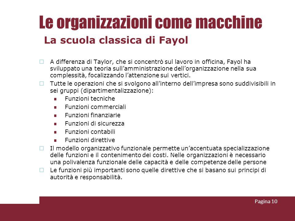 Le organizzazioni come macchine A differenza di Taylor, che si concentrò sul lavoro in officina, Fayol ha sviluppato una teoria sullamministrazione de