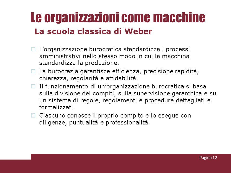 Le organizzazioni come macchine Lorganizzazione burocratica standardizza i processi amministrativi nello stesso modo in cui la macchina standardizza l