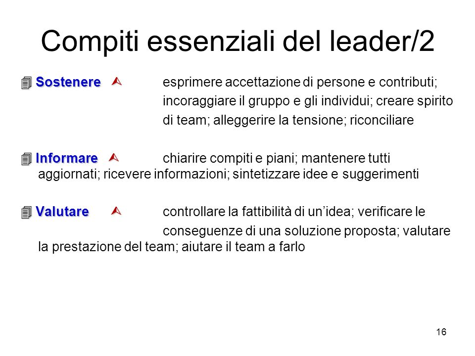 16 Sostenere Sostenere esprimere accettazione di persone e contributi; incoraggiare il gruppo e gli individui; creare spirito di team; alleggerire la