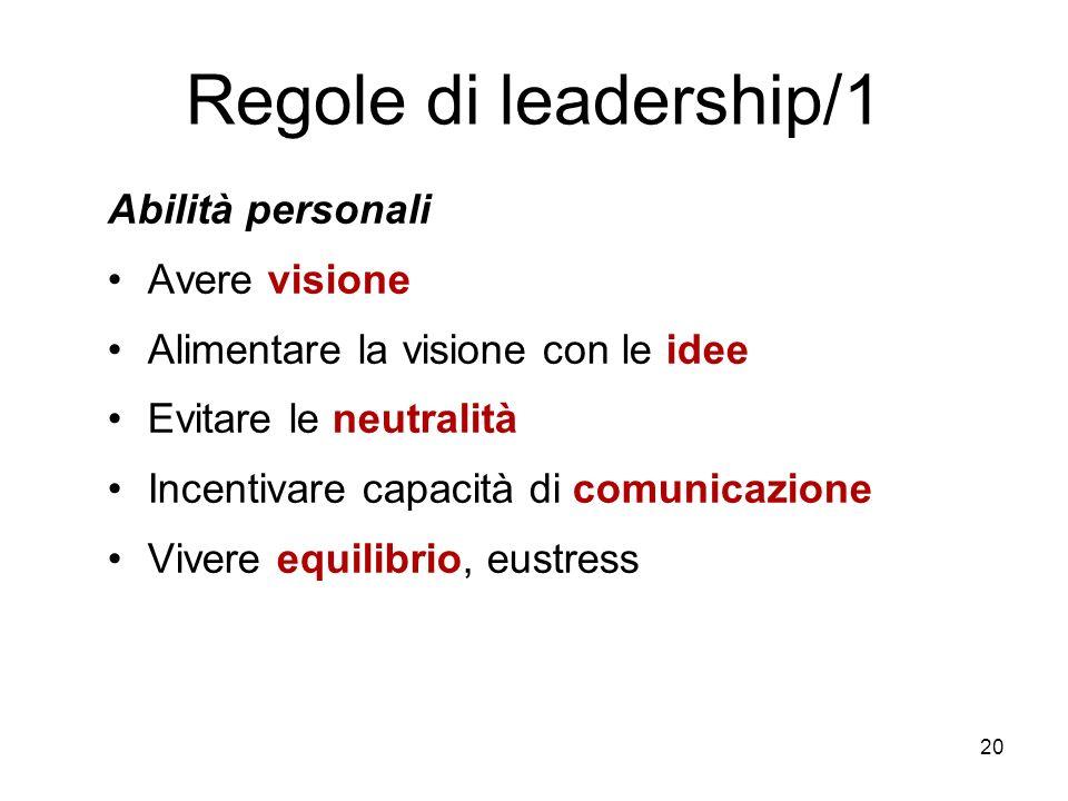 20 Regole di leadership/1 Abilità personali Avere visione Alimentare la visione con le idee Evitare le neutralità Incentivare capacità di comunicazion