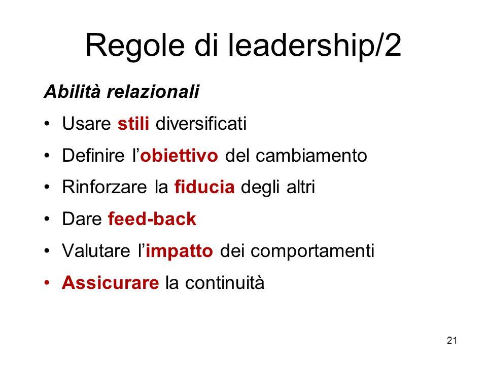21 Regole di leadership/2 Abilità relazionali Usare stili diversificati Definire lobiettivo del cambiamento Rinforzare la fiducia degli altri Dare fee