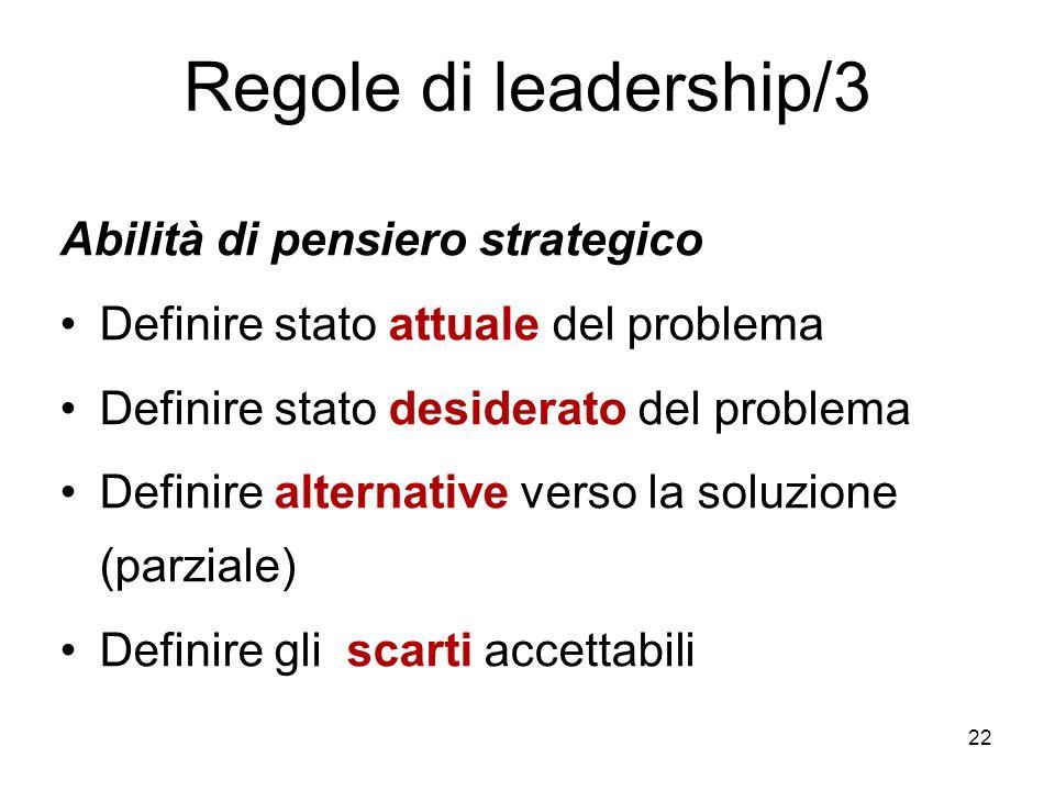 22 Regole di leadership/3 Abilità di pensiero strategico Definire stato attuale del problema Definire stato desiderato del problema Definire alternati