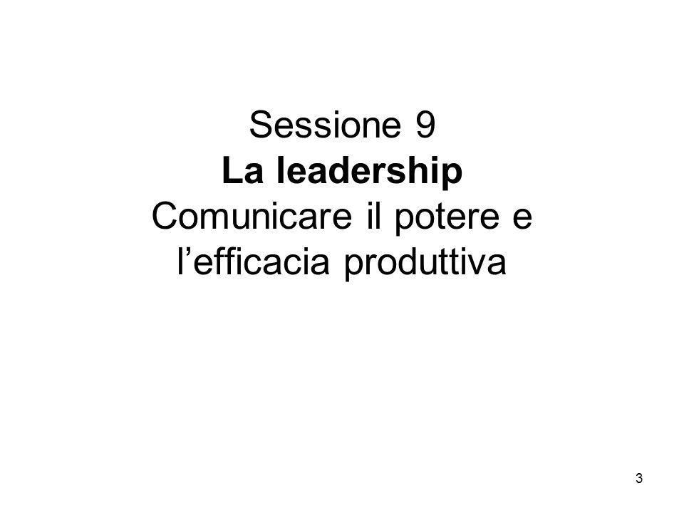 3 Sessione 9 La leadership Comunicare il potere e lefficacia produttiva