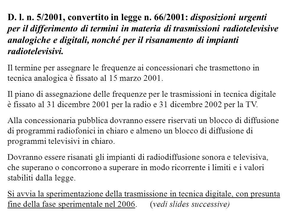 D. l. n. 5/2001, convertito in legge n. 66/2001: disposizioni urgenti per il differimento di termini in materia di trasmissioni radiotelevisive analog