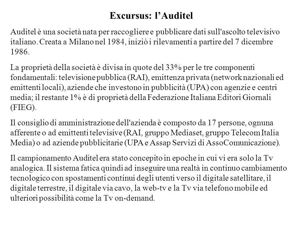 Excursus: lAuditel Auditel è una società nata per raccogliere e pubblicare dati sull'ascolto televisivo italiano. Creata a Milano nel 1984, iniziò i r