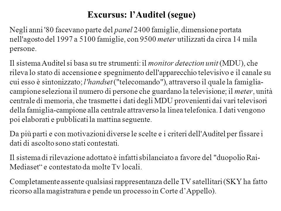 Excursus: lAuditel (segue) Negli anni '80 facevano parte del panel 2400 famiglie, dimensione portata nell'agosto del 1997 a 5100 famiglie, con 9500 me