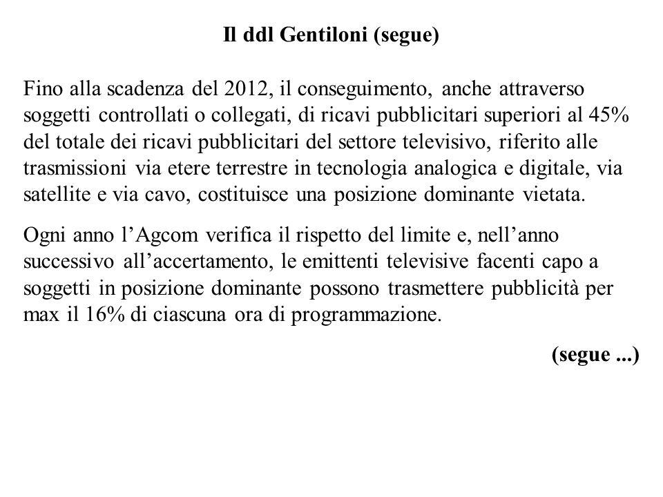 Il ddl Gentiloni (segue) Fino alla scadenza del 2012, il conseguimento, anche attraverso soggetti controllati o collegati, di ricavi pubblicitari supe