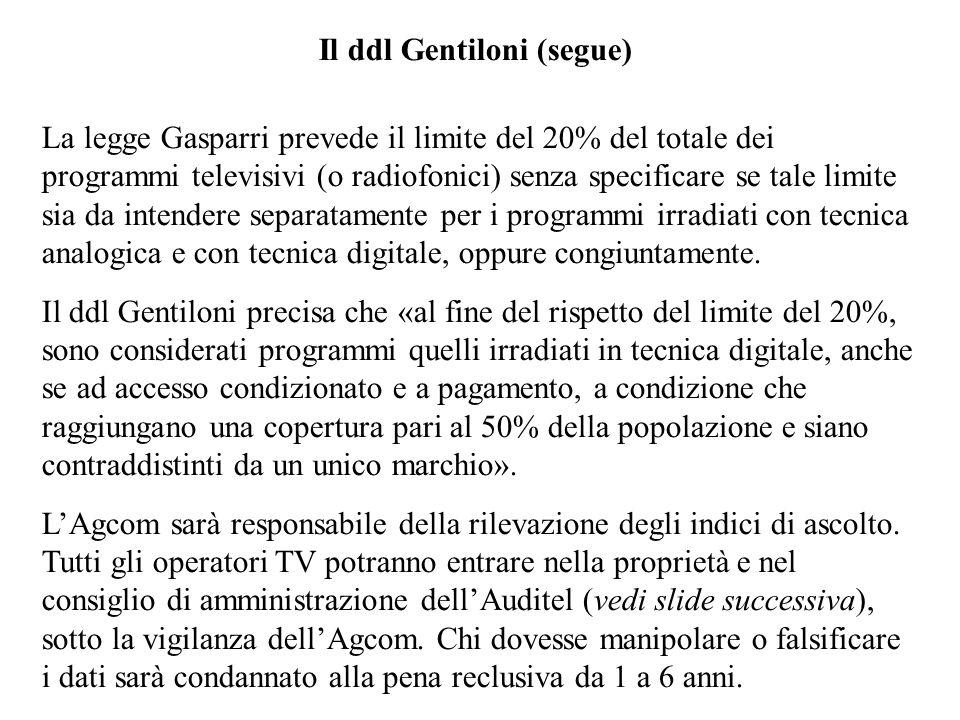 Il ddl Gentiloni (segue) La legge Gasparri prevede il limite del 20% del totale dei programmi televisivi (o radiofonici) senza specificare se tale lim