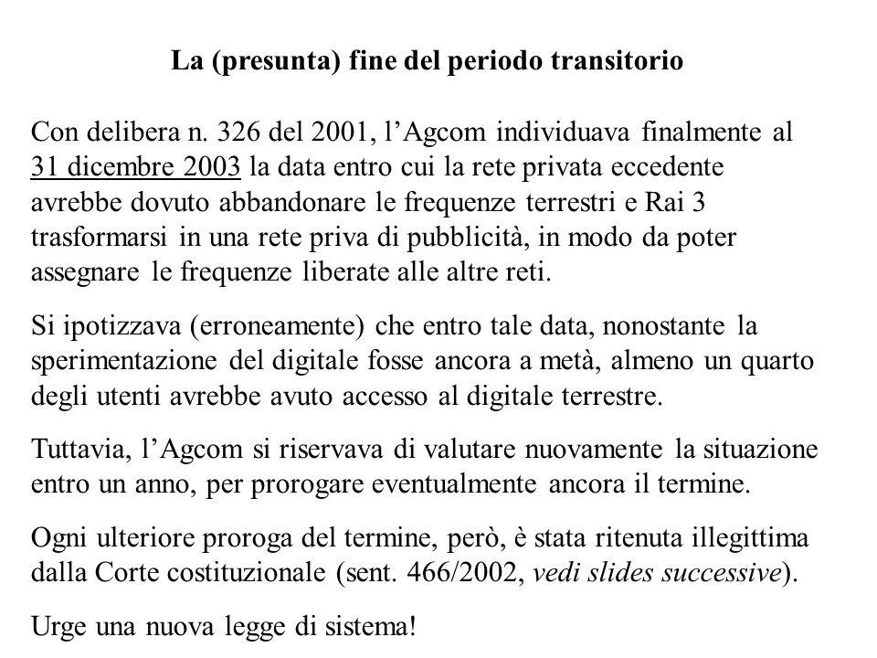 La (presunta) fine del periodo transitorio Con delibera n. 326 del 2001, lAgcom individuava finalmente al 31 dicembre 2003 la data entro cui la rete p