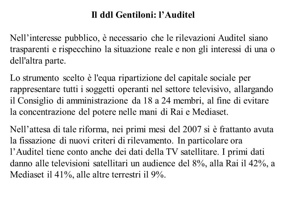Il ddl Gentiloni: lAuditel Nellinteresse pubblico, è necessario che le rilevazioni Auditel siano trasparenti e rispecchino la situazione reale e non g