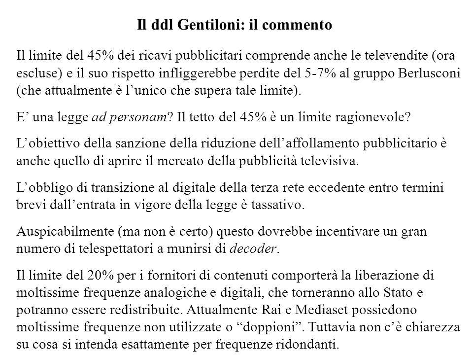 Il ddl Gentiloni: il commento Il limite del 45% dei ricavi pubblicitari comprende anche le televendite (ora escluse) e il suo rispetto infliggerebbe p