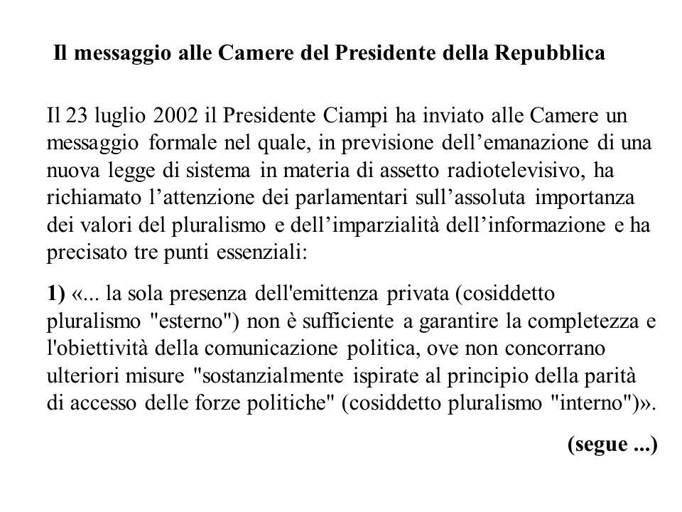 Il messaggio alle Camere del Presidente della Repubblica Il 23 luglio 2002 il Presidente Ciampi ha inviato alle Camere un messaggio formale nel quale,