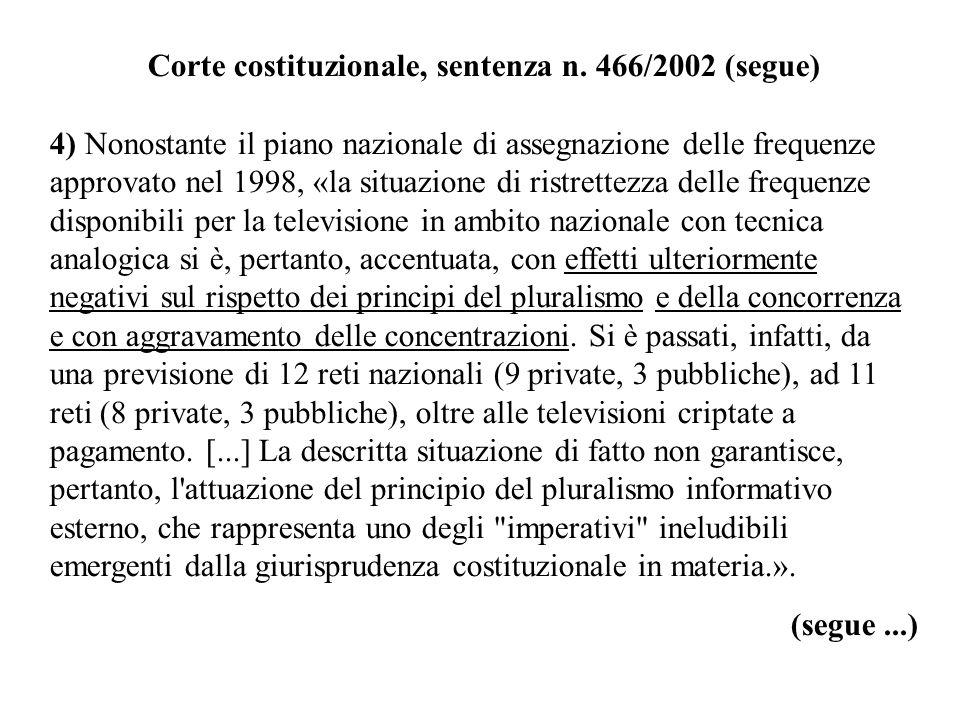 Corte costituzionale, sentenza n. 466/2002 (segue) 4) Nonostante il piano nazionale di assegnazione delle frequenze approvato nel 1998, «la situazione
