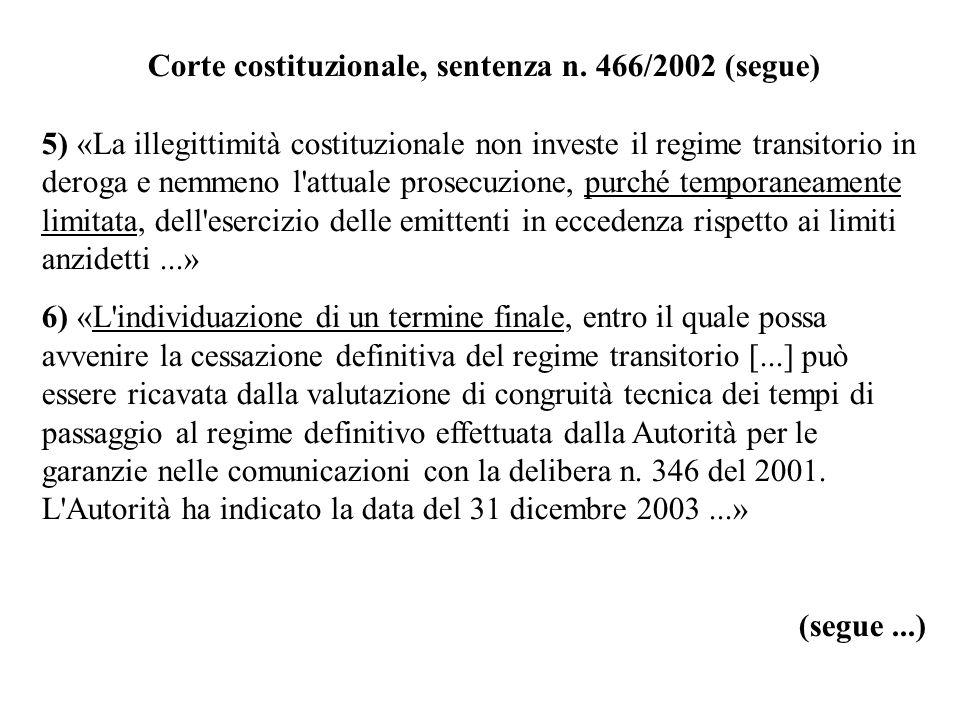Corte costituzionale, sentenza n. 466/2002 (segue) 5) «La illegittimità costituzionale non investe il regime transitorio in deroga e nemmeno l'attuale