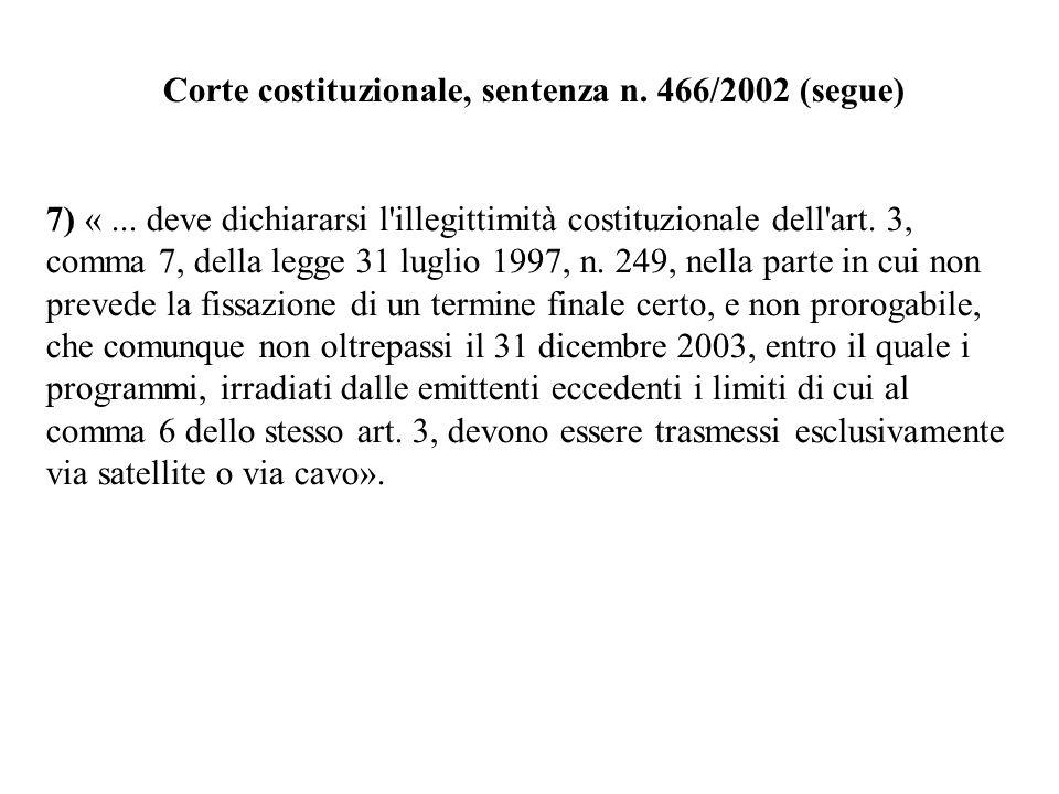 Corte costituzionale, sentenza n. 466/2002 (segue) 7) «... deve dichiararsi l'illegittimità costituzionale dell'art. 3, comma 7, della legge 31 luglio