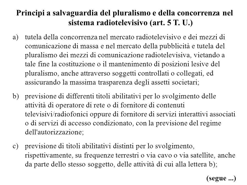 Principi a salvaguardia del pluralismo e della concorrenza nel sistema radiotelevisivo (art. 5 T. U.) a)tutela della concorrenza nel mercato radiotele